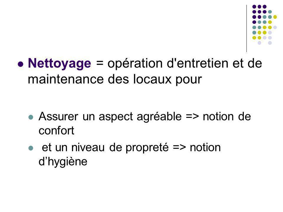 Nettoyage = opération d entretien et de maintenance des locaux pour Assurer un aspect agréable => notion de confort et un niveau de propreté => notion dhygiène