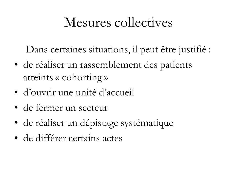 Mesures collectives Dans certaines situations, il peut être justifié : de réaliser un rassemblement des patients atteints « cohorting » douvrir une un