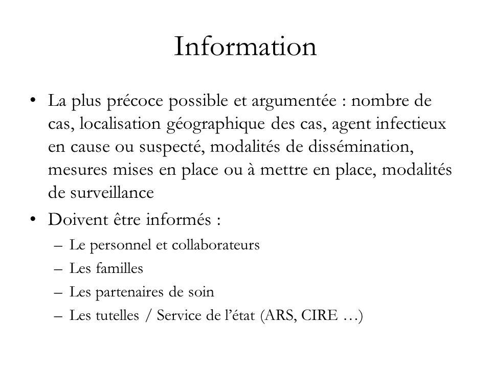 Information La plus précoce possible et argumentée : nombre de cas, localisation géographique des cas, agent infectieux en cause ou suspecté, modalité