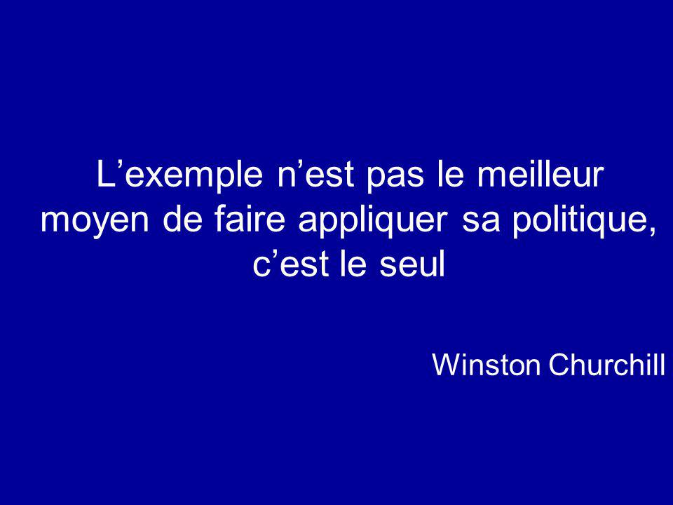 Lexemple nest pas le meilleur moyen de faire appliquer sa politique, cest le seul Winston Churchill