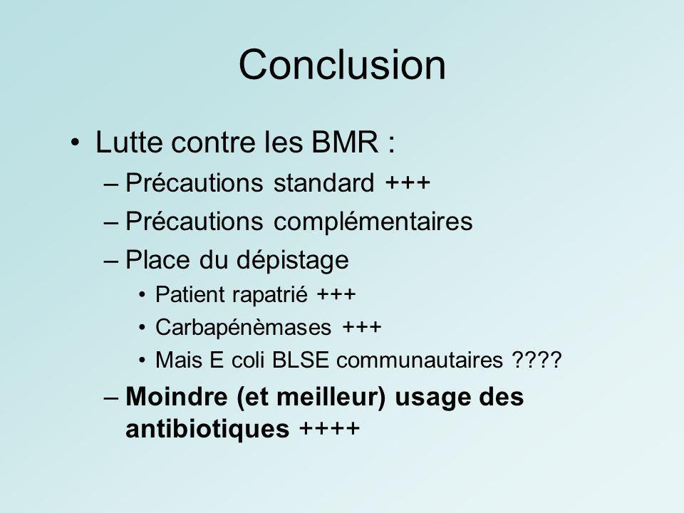 Conclusion Lutte contre les BMR : –Précautions standard +++ –Précautions complémentaires –Place du dépistage Patient rapatrié +++ Carbapénèmases +++ M
