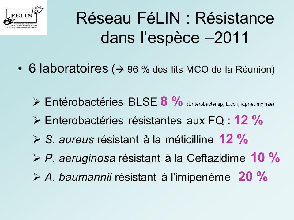 Réseau FéLIN : Résistance dans lespèce –2011 6 laboratoires ( 96 % des lits MCO de la Réunion) Entérobactéries BLSE 8 % (Enterobacter sp, E.coli, K.pn