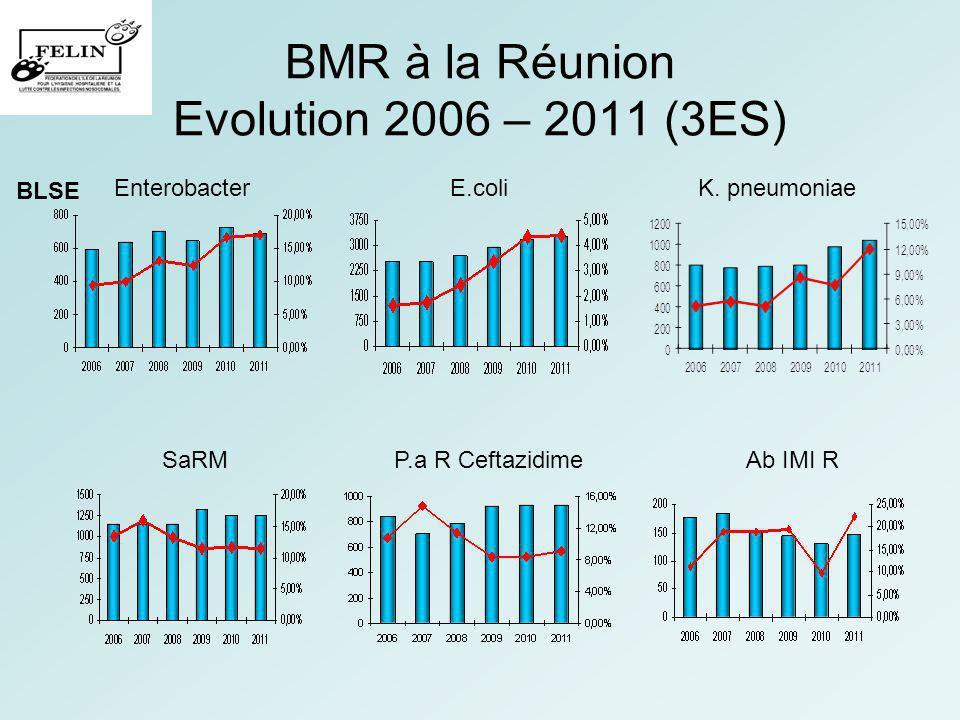 BMR à la Réunion Evolution 2006 – 2011 (3ES) EnterobacterE.coliK. pneumoniae SaRMP.a R CeftazidimeAb IMI R BLSE
