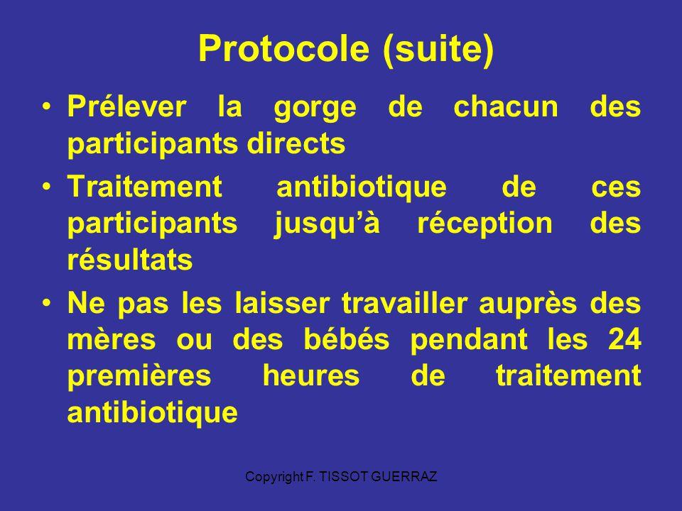 Copyright F. TISSOT GUERRAZ Protocole (suite) Prélever la gorge de chacun des participants directs Traitement antibiotique de ces participants jusquà