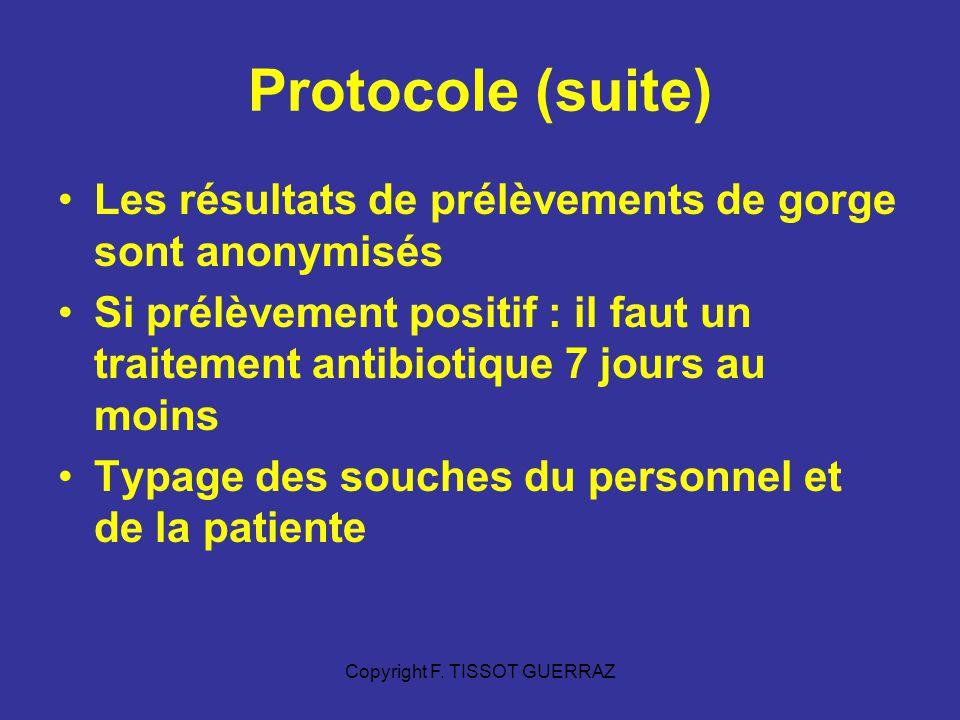 Copyright F. TISSOT GUERRAZ Protocole (suite) Les résultats de prélèvements de gorge sont anonymisés Si prélèvement positif : il faut un traitement an