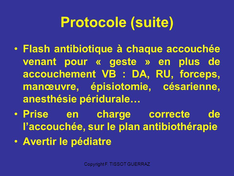 Copyright F. TISSOT GUERRAZ Protocole (suite) Flash antibiotique à chaque accouchée venant pour « geste » en plus de accouchement VB : DA, RU, forceps
