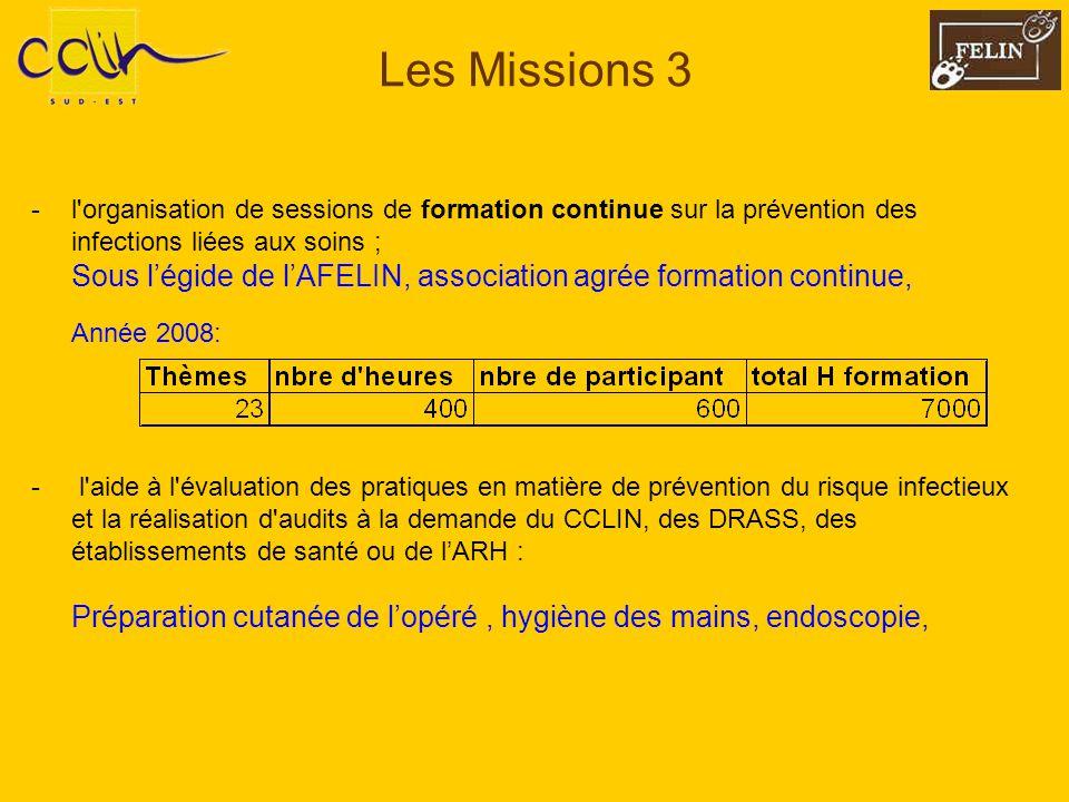 Les Missions 3 -l'organisation de sessions de formation continue sur la prévention des infections liées aux soins ; Sous légide de lAFELIN, associatio