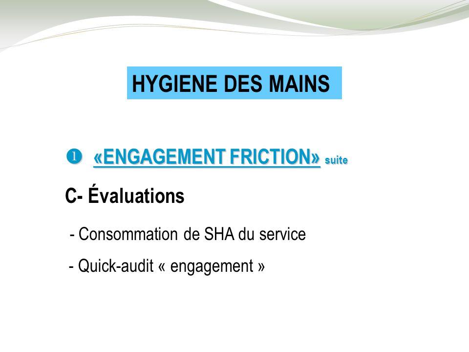 «ENGAGEMENT FRICTION» suite «ENGAGEMENT FRICTION» suite C- Évaluations - Consommation de SHA du service - Quick-audit « engagement » HYGIENE DES MAINS