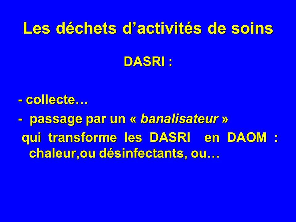 Les déchets dactivités de soins DASRI : - collecte… - passage par un « banalisateur » qui transforme les DASRI en DAOM : chaleur,ou désinfectants, ou…