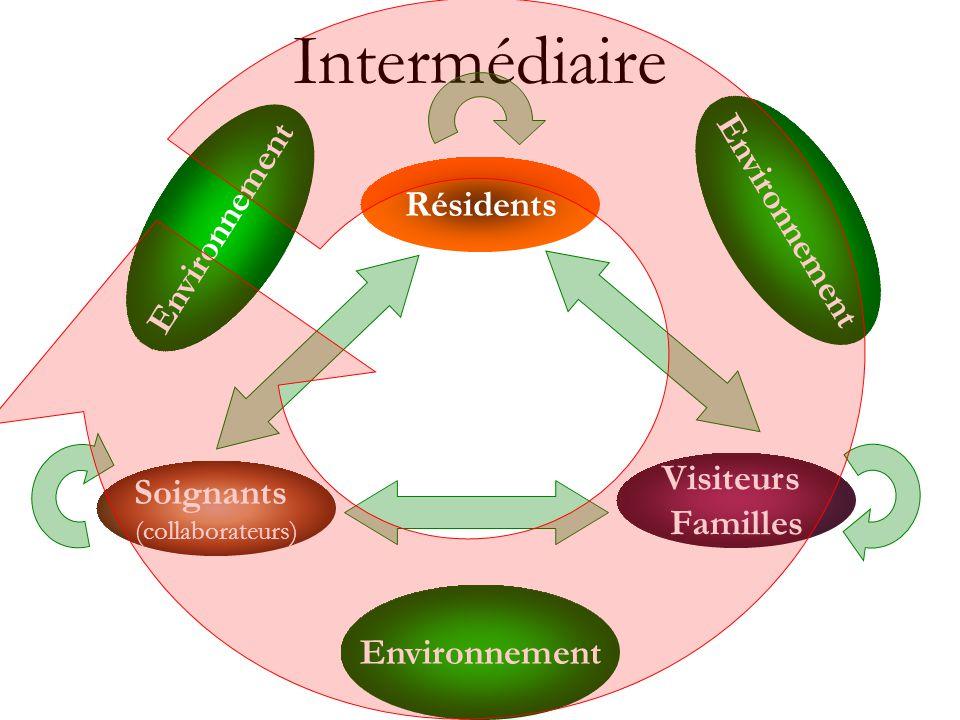 Intermédiaire Résidents Visiteurs Familles Soignants (collaborateurs) Environnement