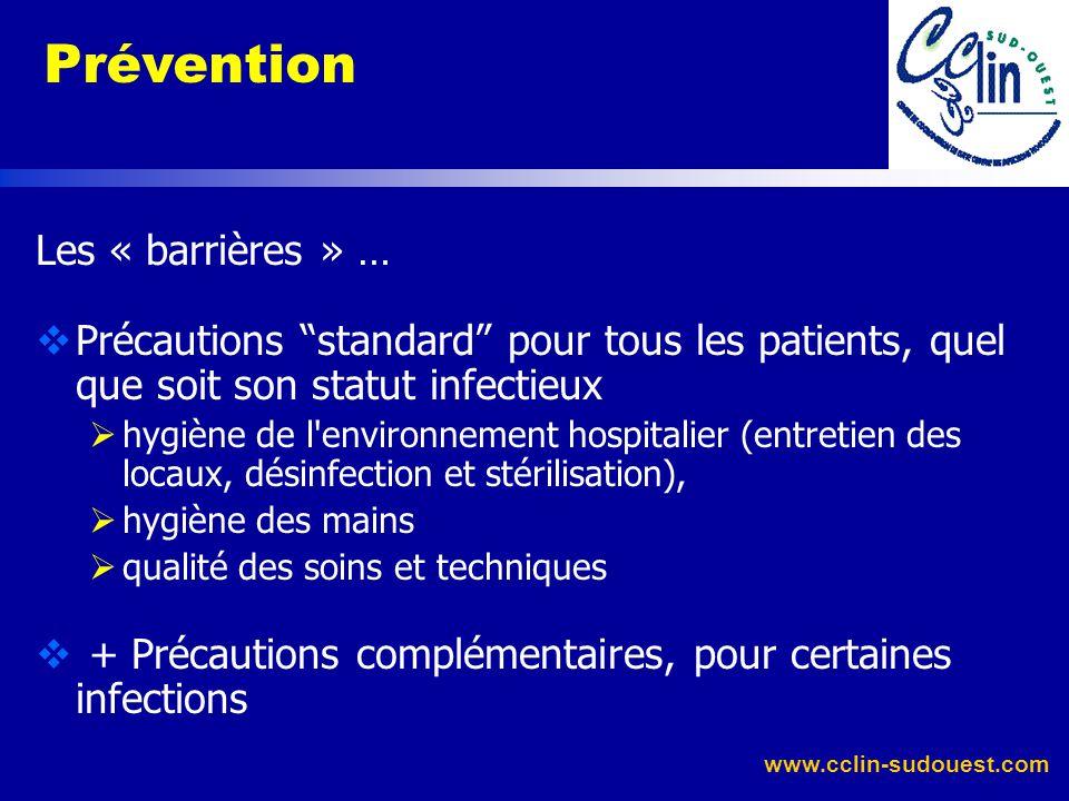 www.cclin-sudouest.com Agir sur les facteurs liés à la réceptivité de lhôte : dénutrition, équilibrage diabète immunodépression vaccination traitement