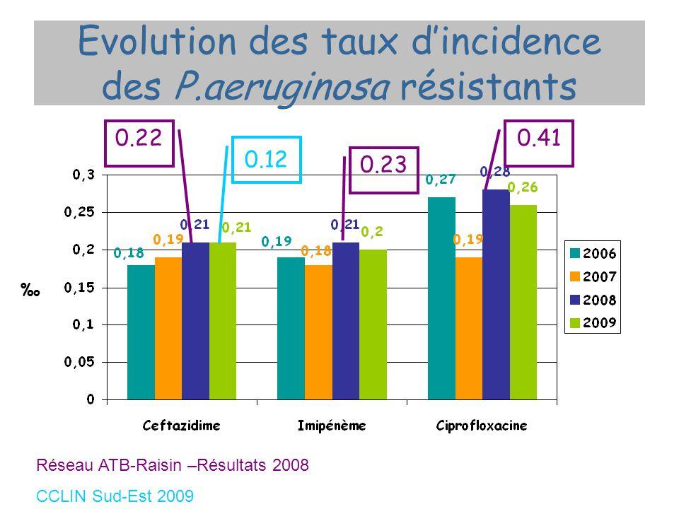 Evolution des taux dincidence des P.aeruginosa résistants 0.22 0.23 0.41 Réseau ATB-Raisin –Résultats 2008 CCLIN Sud-Est 2009 0.12