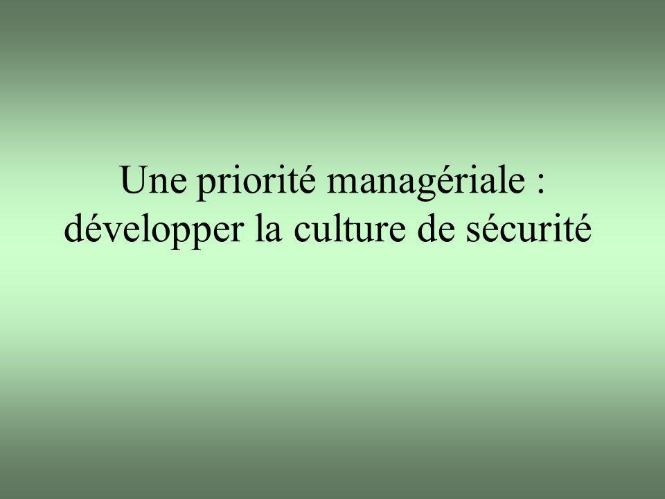 Une priorité managériale : développer la culture de sécurité