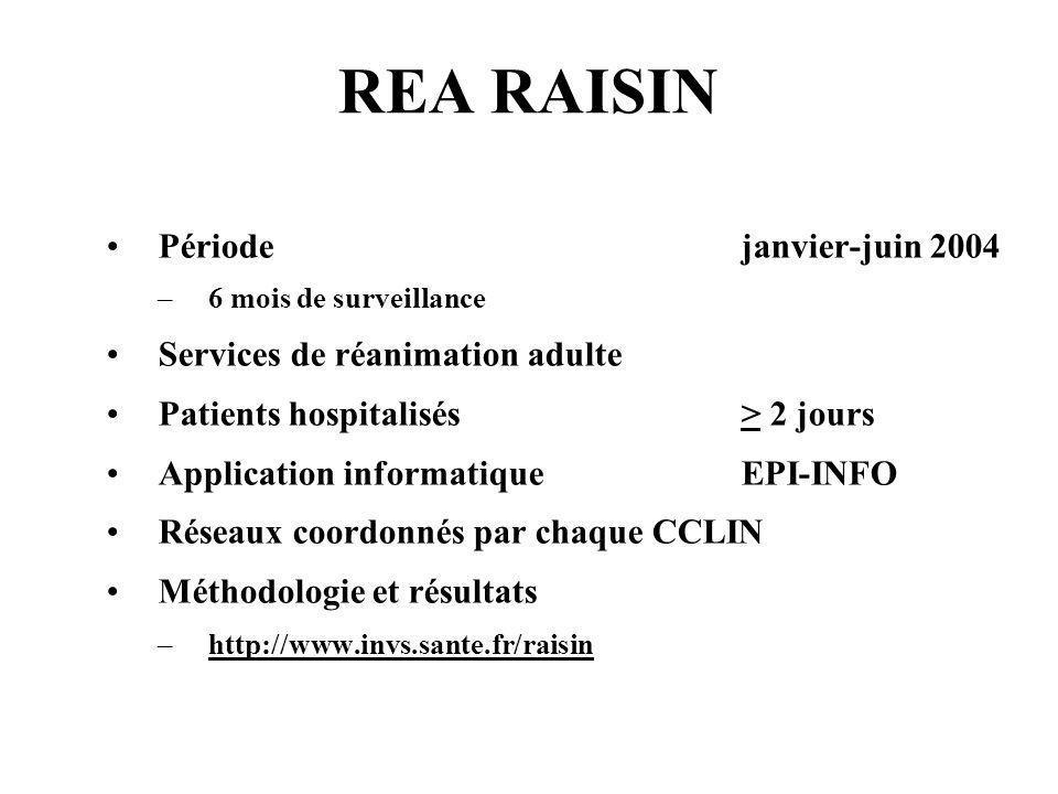 REA RAISIN Période janvier-juin 2004 –6 mois de surveillance Services de réanimation adulte Patients hospitalisés > 2 jours Application informatique E