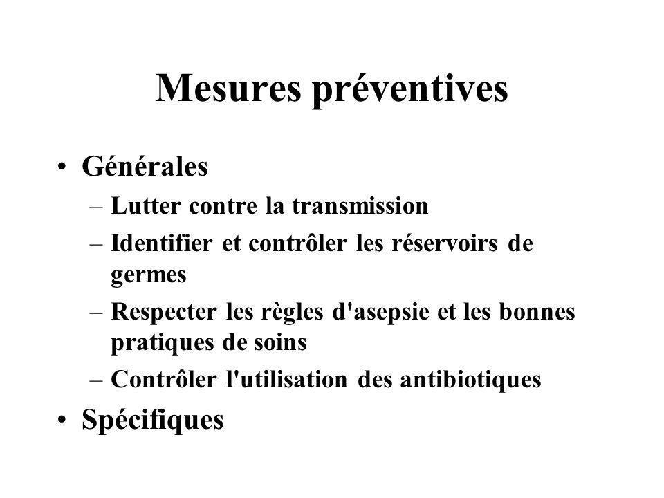 Mesures préventives Générales –Lutter contre la transmission –Identifier et contrôler les réservoirs de germes –Respecter les règles d'asepsie et les