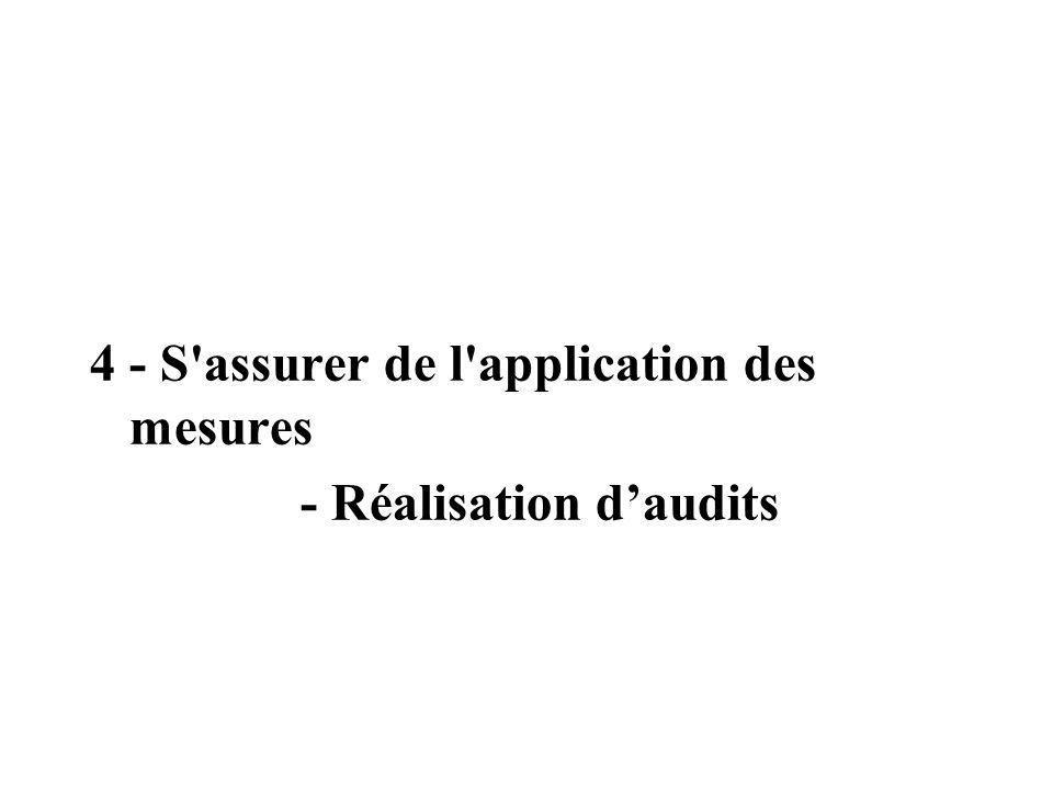 4 - S'assurer de l'application des mesures - Réalisation daudits