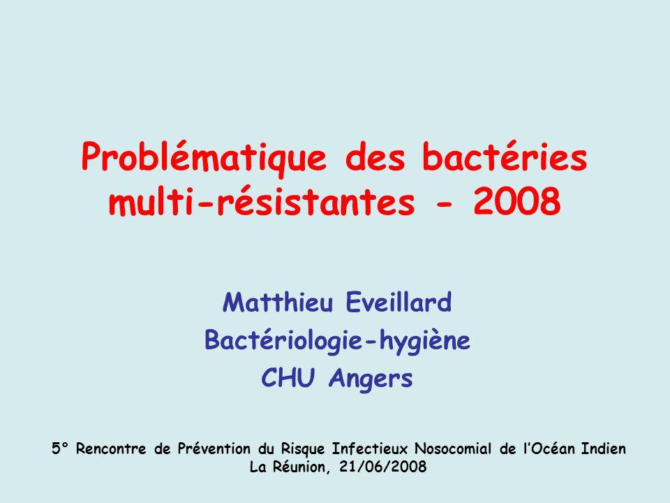Problématique des bactéries multi-résistantes - 2008 Matthieu Eveillard Bactériologie-hygiène CHU Angers 5° Rencontre de Prévention du Risque Infectie