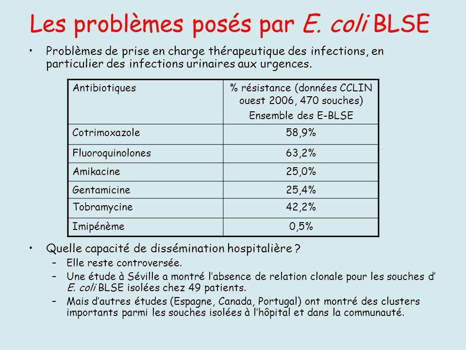 Les problèmes posés par E. coli BLSE Problèmes de prise en charge thérapeutique des infections, en particulier des infections urinaires aux urgences.