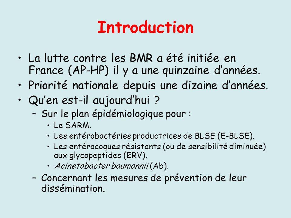 Introduction La lutte contre les BMR a été initiée en France (AP-HP) il y a une quinzaine dannées. Priorité nationale depuis une dizaine dannées. Quen