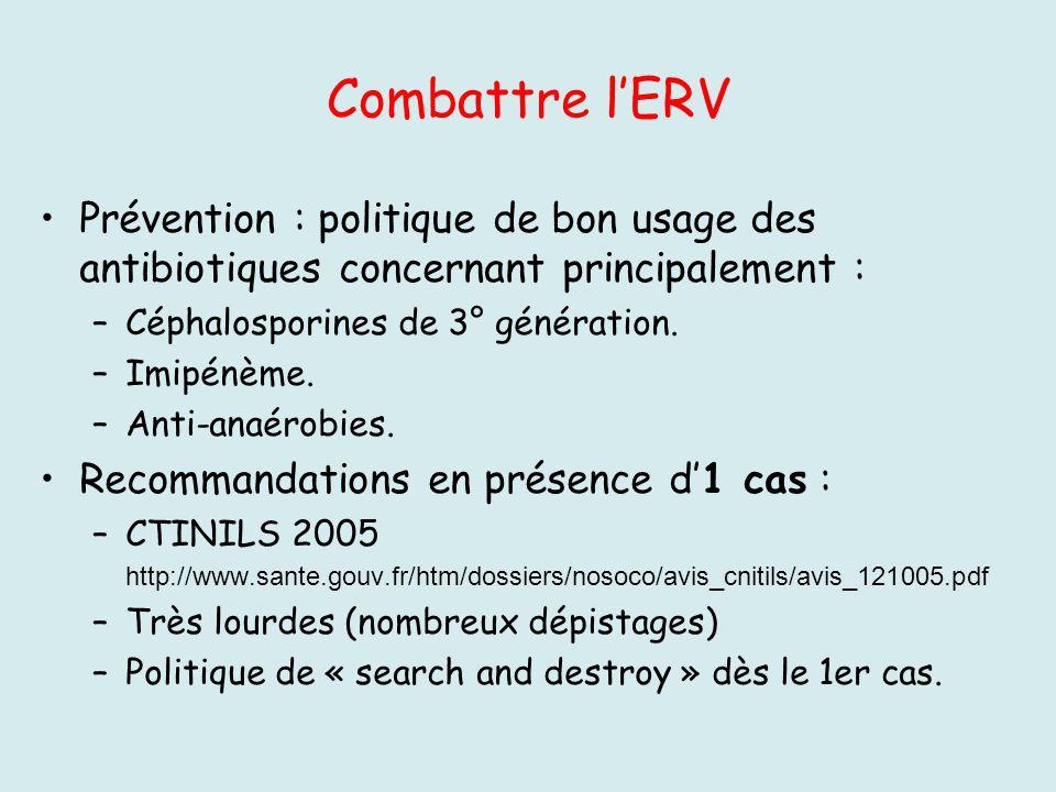 Combattre lERV Prévention : politique de bon usage des antibiotiques concernant principalement : –Céphalosporines de 3° génération. –Imipénème. –Anti-