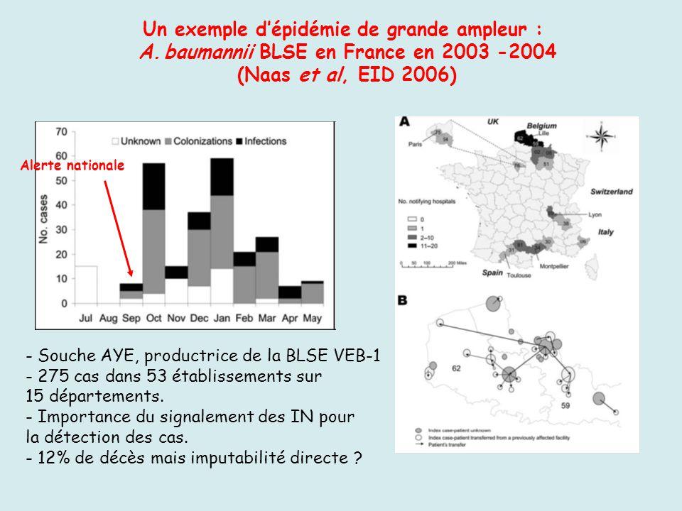 Un exemple dépidémie de grande ampleur : A.baumannii BLSE en France en 2003 -2004 (Naas et al, EID 2006) - Souche AYE, productrice de la BLSE VEB-1 -