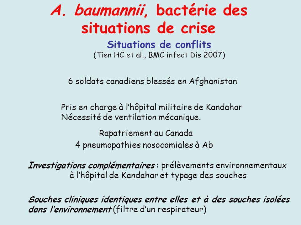 Situations de conflits (Tien HC et al., BMC infect Dis 2007) A. baumannii, bactérie des situations de crise 6 soldats canadiens blessés en Afghanistan