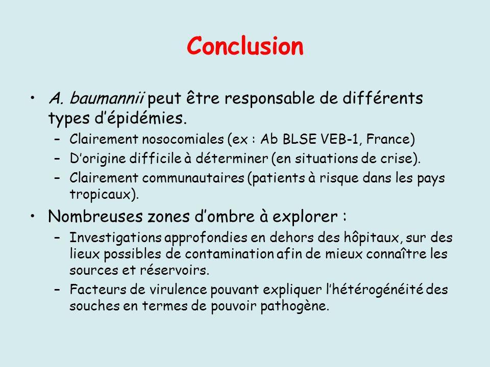 Conclusion A. baumannii peut être responsable de différents types dépidémies. –Clairement nosocomiales (ex : Ab BLSE VEB-1, France) –Dorigine difficil