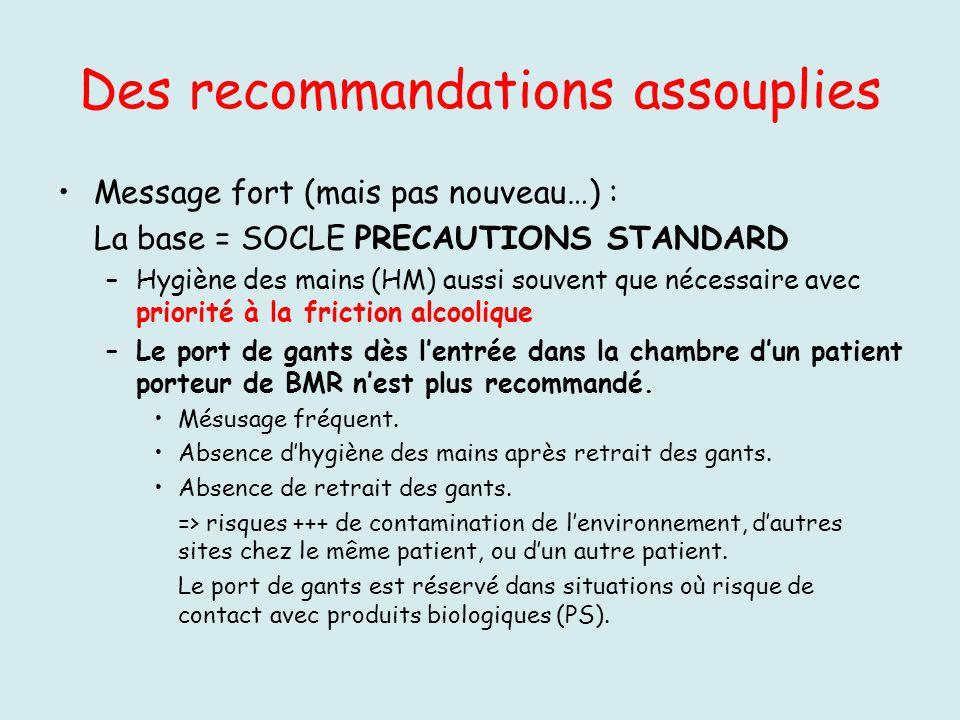 Des recommandations assouplies Message fort (mais pas nouveau…) : La base = SOCLE PRECAUTIONS STANDARD –Hygiène des mains (HM) aussi souvent que néces