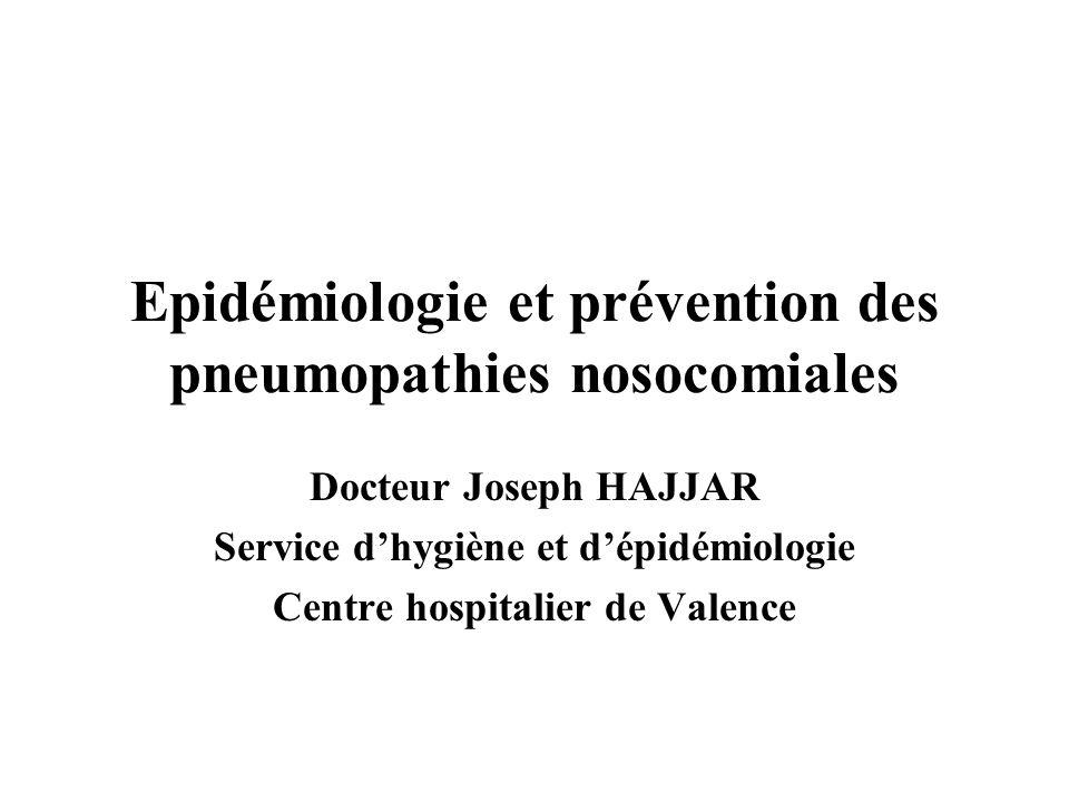 Ampleur du problème ENP 2006 –Seconde IN après IU (2 833 PNEU/ 19 296 IN = 14,7%) tous secteurs confondus Prévalence de 0,79% (sur 358 467 patients) –Première en réa (43,2 % des IN) Incidence –5 à 10 / 1 000 hospitalisations* –7 à 14 / 1 000 j de VA** –Fourchette large en raison des définitions utilisées *Am J Resp Crit Care Med 1996;153:1711-25 ** Chest 2002;122:115-21