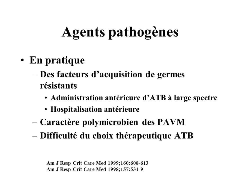 Agents pathogènes En pratique –Des facteurs dacquisition de germes résistants Administration antérieure dATB à large spectre Hospitalisation antérieur