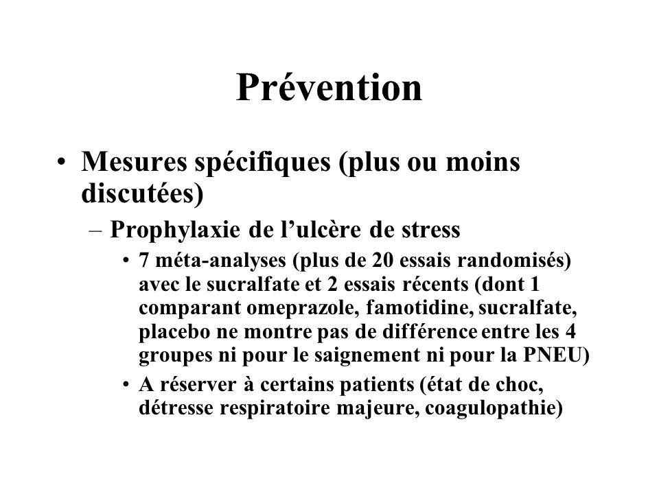 Prévention Mesures spécifiques (plus ou moins discutées) –Prophylaxie de lulcère de stress 7 méta-analyses (plus de 20 essais randomisés) avec le sucr