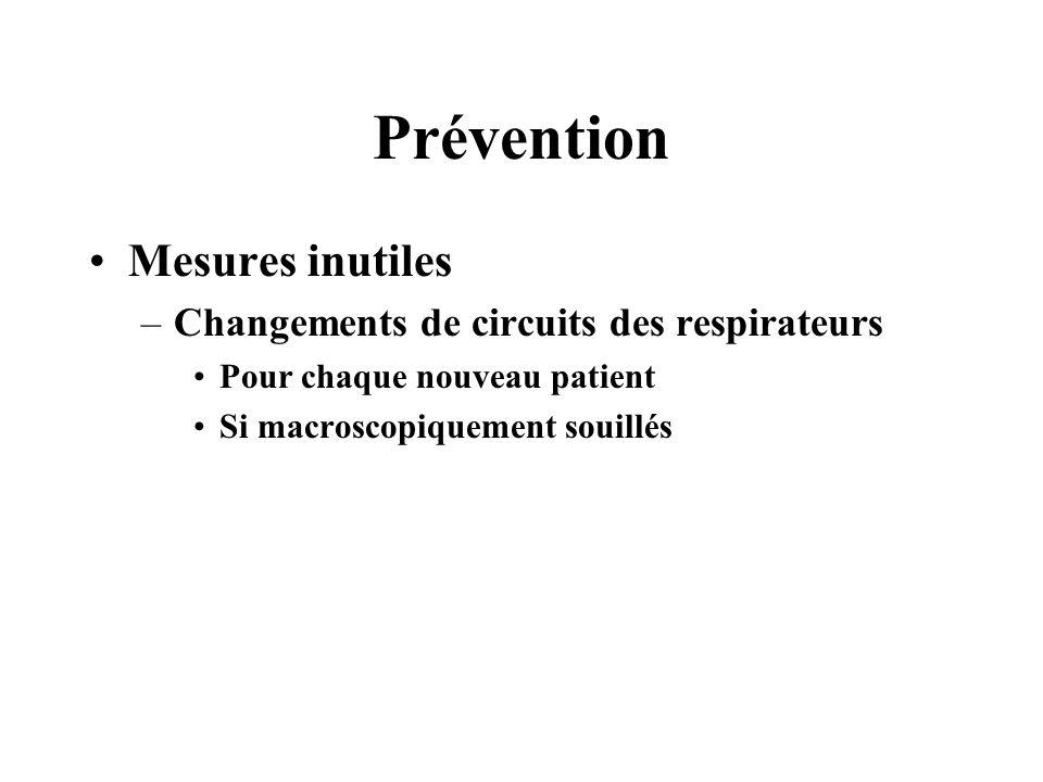 Prévention Mesures inutiles –Changements de circuits des respirateurs Pour chaque nouveau patient Si macroscopiquement souillés