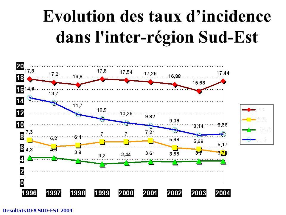 Evolution des taux dincidence dans l'inter-région Sud-Est Résultats REA SUD-EST 2004