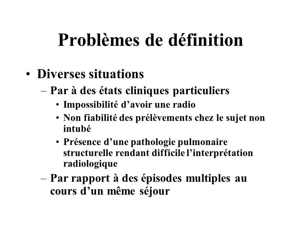 Problèmes de définition Diverses situations –Par à des états cliniques particuliers Impossibilité davoir une radio Non fiabilité des prélèvements chez