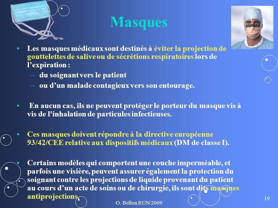 O. Bellon RUN 2009 19 Masques Les masques médicaux sont destinés à éviter la projection de gouttelettes de salive ou de sécrétions respiratoires lors
