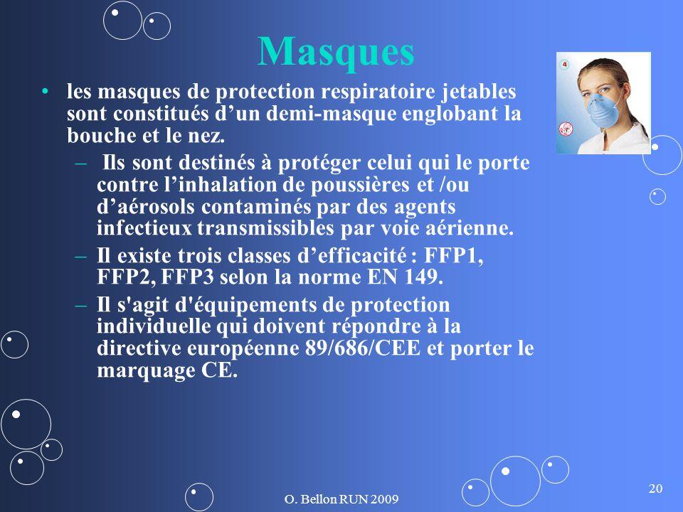 O. Bellon RUN 2009 20 Masques les masques de protection respiratoire jetables sont constitués dun demi-masque englobant la bouche et le nez. – – Ils s