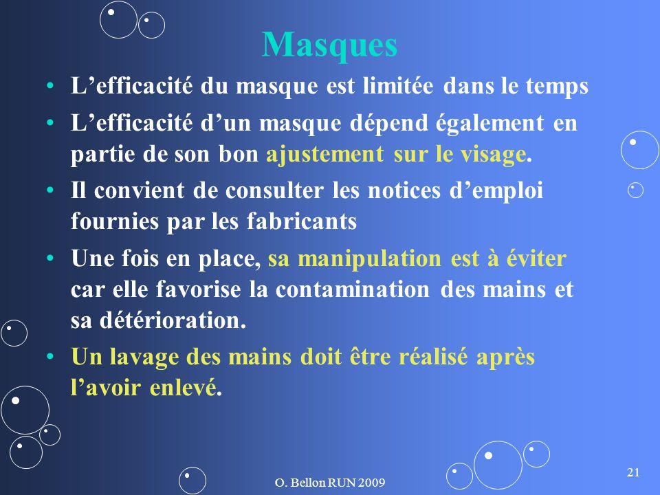 O. Bellon RUN 2009 21 Masques Lefficacité du masque est limitée dans le temps Lefficacité dun masque dépend également en partie de son bon ajustement
