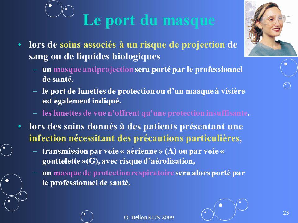 O. Bellon RUN 2009 23 Le port du masque lors de soins associés à un risque de projection de sang ou de liquides biologiques – –un masque antiprojectio