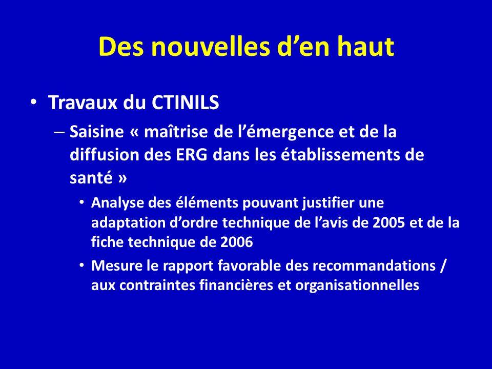 Des nouvelles den haut Travaux du CTINILS – Saisine « maîtrise de lémergence et de la diffusion des ERG dans les établissements de santé » Analyse des