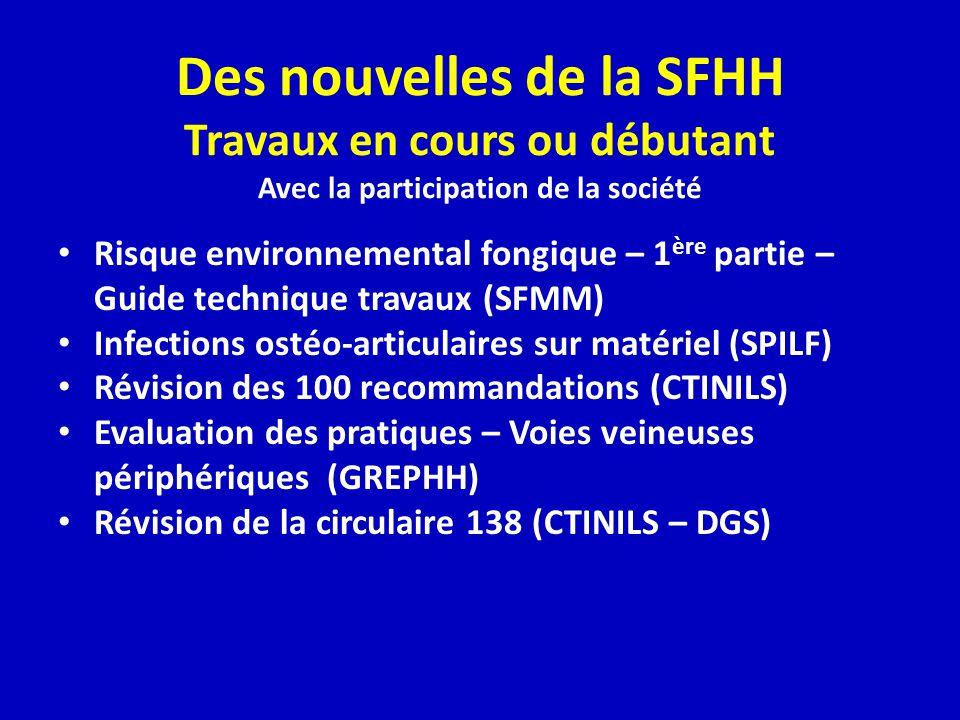 Des nouvelles de la SFHH Travaux en cours ou débutant Avec la participation de la société Risque environnemental fongique – 1 ère partie – Guide techn