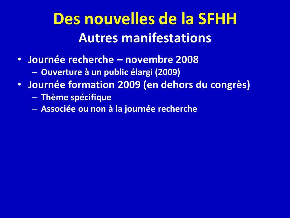 Des nouvelles de la SFHH Autres manifestations Journée recherche – novembre 2008 – Ouverture à un public élargi (2009) Journée formation 2009 (en dehors du congrès) – Thème spécifique – Associée ou non à la journée recherche