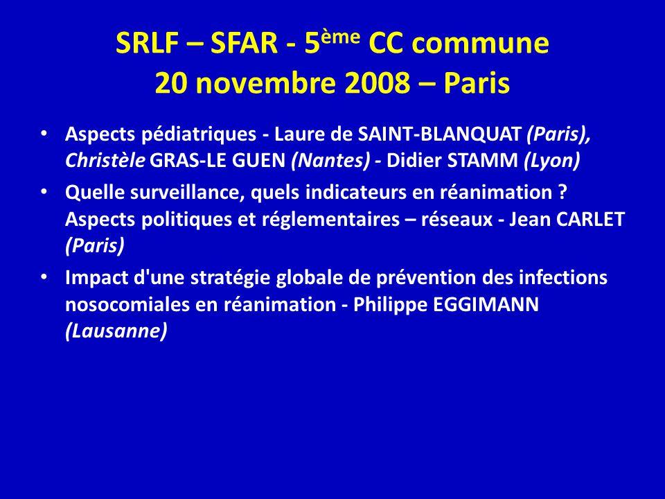 SRLF – SFAR - 5 ème CC commune 20 novembre 2008 – Paris Aspects pédiatriques - Laure de SAINT-BLANQUAT (Paris), Christèle GRAS-LE GUEN (Nantes) - Didier STAMM (Lyon) Quelle surveillance, quels indicateurs en réanimation .