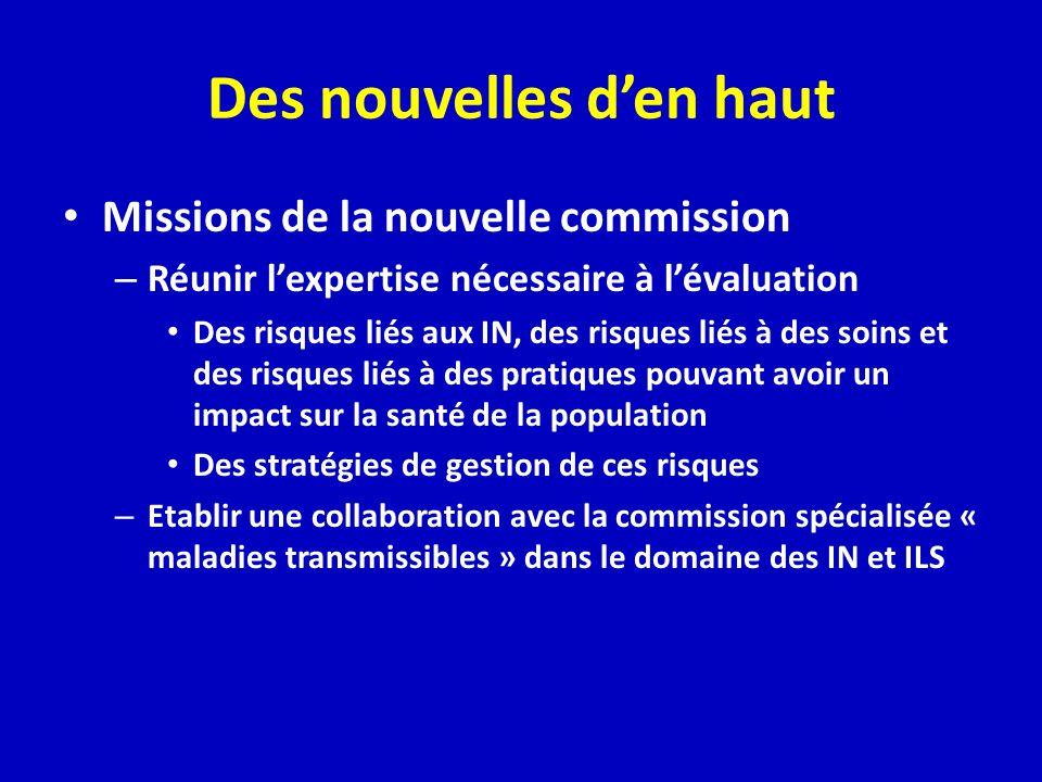 Des nouvelles den haut Missions de la nouvelle commission – Réunir lexpertise nécessaire à lévaluation Des risques liés aux IN, des risques liés à des