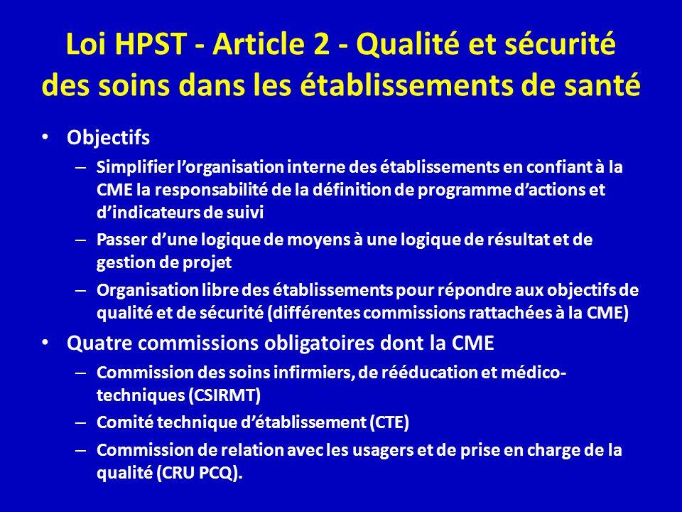 Loi HPST - Article 2 - Qualité et sécurité des soins dans les établissements de santé Objectifs – Simplifier lorganisation interne des établissements