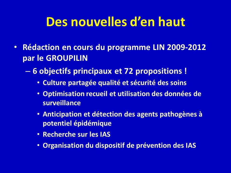 Des nouvelles den haut Rédaction en cours du programme LIN 2009-2012 par le GROUPILIN – 6 objectifs principaux et 72 propositions .