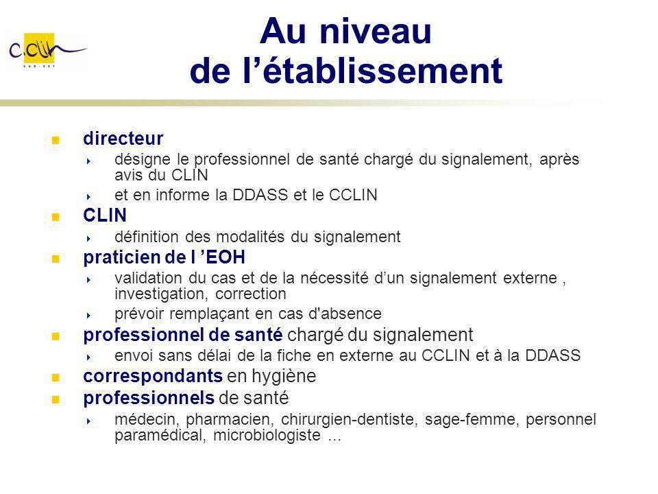 Au niveau de létablissement directeur désigne le professionnel de santé chargé du signalement, après avis du CLIN et en informe la DDASS et le CCLIN C