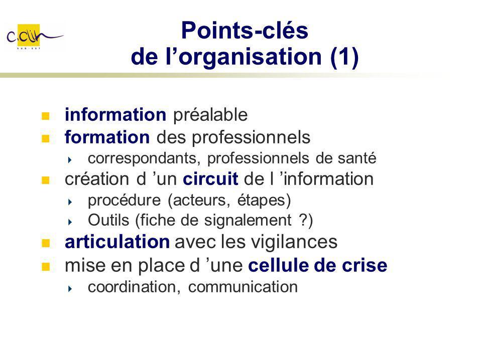 Points-clés de lorganisation (1) information préalable formation des professionnels correspondants, professionnels de santé création d un circuit de l