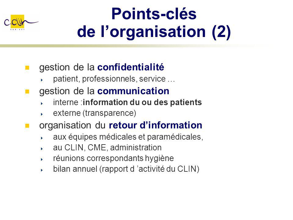 Points-clés de lorganisation (2) gestion de la confidentialité patient, professionnels, service … gestion de la communication interne :information du