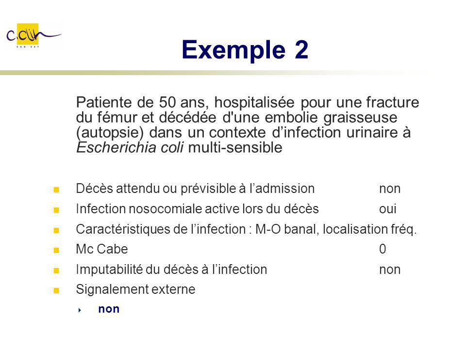 Exemple 2 Patiente de 50 ans, hospitalisée pour une fracture du fémur et décédée d'une embolie graisseuse (autopsie) dans un contexte dinfection urina