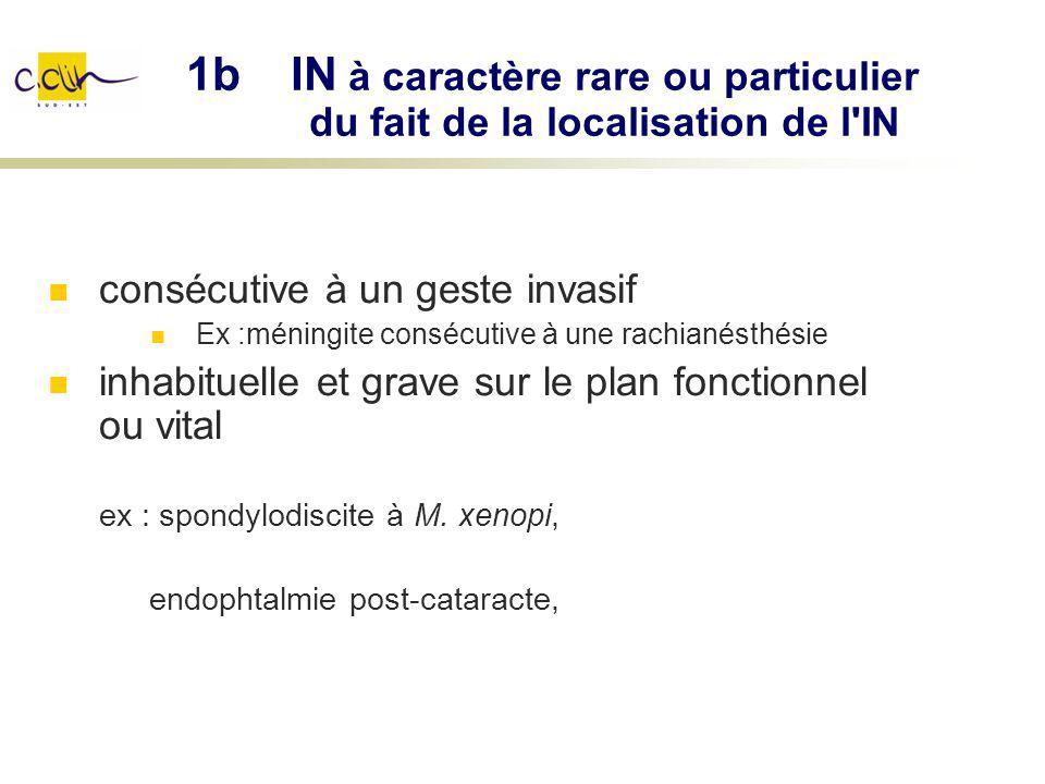 consécutive à un geste invasif Ex :méningite consécutive à une rachianésthésie inhabituelle et grave sur le plan fonctionnel ou vital ex : spondylodis